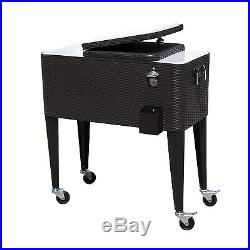 Outdoor 80QT Portable Rolling Patio Rattan Ice Chest Party Cooler Cart Brown