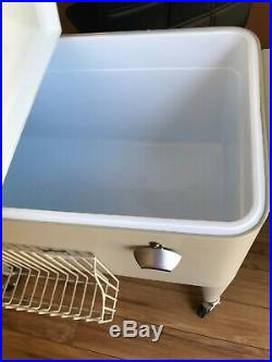 Outdoor 80QT Rolling Party Cooler Cart Ice Chest Patio