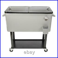 Outdoor 80QT Rolling Party Iron Spray Cooler Cart Ice Bee Chest Patio Warm Shelf