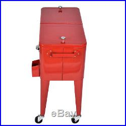 Outdoor 80 QT Party Portable Rolling Cooler Cart Ice Chest Bottle Opener Wheels