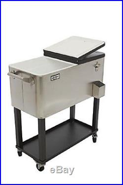 Outdoor 80 QT Portable Rolling Patio Stainless Steel Party Cooler Cart Ice Chest