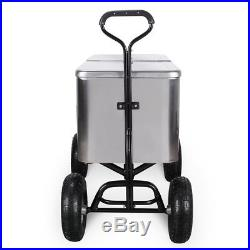 Outdoor 80 Qt Portable Beach Party Backyard Patio Cooler Wagon, Stainless Steel