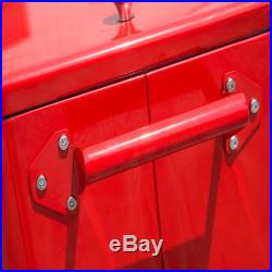 Outdoor 80 Quart Portable Rolling Patio Steel Party Cooler Cart Ice Chest Red