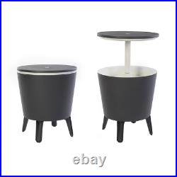 Outdoor Accent Table & Cooler in One, Cool Bar Gray Resin