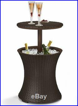 Outdoor Ice Chest Table Patio Pool Beverage Cooler Cocktail Bar Stylish 7.5-Gal