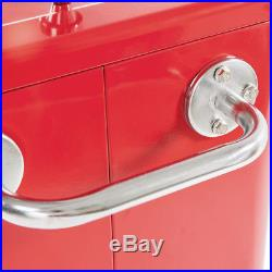 Outdoor Party Portable Rolling Cooler Cart Ice Beer Beverage Chest Red