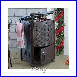 Outdoor Patio Cooler Ice Chest Deck Party Picnic Large Sturdy Resin Wicker Roomy