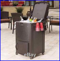 Outdoor Patio Cooler With Wheels Rolling Ice Chest Can Drink Party Beverage Tub