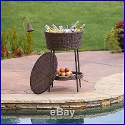 Outdoor Patio Furniture All-Weather Wicker Ice Bucket Beverage Cooler