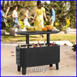 Outdoor Patio Pool Bar Cocktail Coffee Table Party Drink Ice Cooler Brown Resin