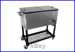 Outdoor Patio Pool Side 80-Quart Stainless Steel Ice Beverage Cooler with Tray