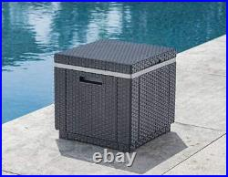 Outdoor Patio Poolside Backyard Deck Ice Cube Cooler Table Seat Beer Wine Gray