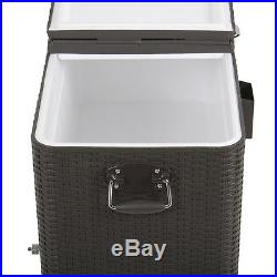 Outdoor Patio Wicker Rattan 80QT Yard Ice Beverage Portable Rolling Cooler Cart