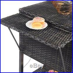 Outdoor Portable Patio Rattan Cooler Cart