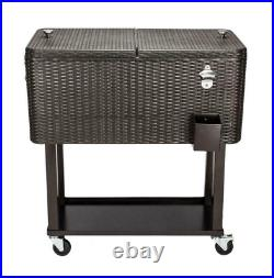 Outdoor Rattan 80QT Party Patio Rolling Cooler Cart Ice Beer Beverage Chest Cool