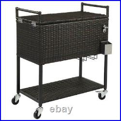 Outdoor Rattan 80QT Party Patio Rolling Cooler Cart Ice Chest With Wheel Tray