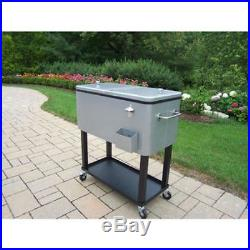 Outdoor Rolling Cooler Cart 80 Qt. Chest Patio Bar Serving Drinks Party Cold Ice