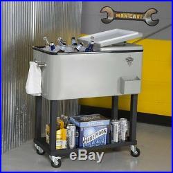 Outdoor Steel Patio Cooler Bar Serving Cart Home Living Furniture Deck Storage