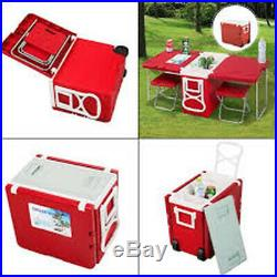Outdoor Ultra Compact Camping Picnic Rolling Cooler with Table & 2 Chairs Red