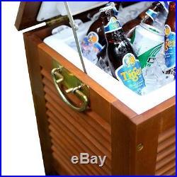 Outdoor Wooden Patio Cooler Ice Party Chest Deck Quart Beverage Cart Home Beer