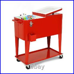 Outdoor Yard Party 80 QT Portable Rolling Cooler Cart Ice Beer Beverage Chest US