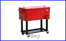 Outsunny 80 QT Rolling Ice Chest Portable Patio Party Drink Cooler Cart Red