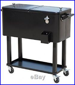 Outsunny B2-0011 Rolling Ice Chest Portable Patio Party Drink Cooler Cart