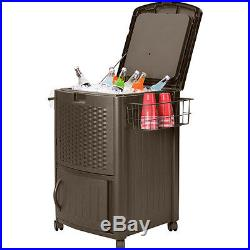 Party Cooler Ice Chest Outdoor Patio Portable Beverage Storage Rolling Cool Gift