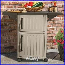 Patio Cabinet And Prep Station Outdoor Serving Storage Cart Bar BBQ Easy NEW