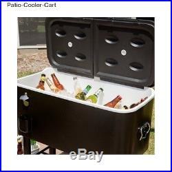 Patio Cooler Cart Beverage Ice Chest BBQ Deck Man Cave Black Bottle Rolling Rio