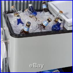 Patio Cooler Cart Ice Chest Rolling Party Outdoor Portable Deck Beverage 80 Qt