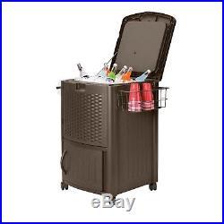 Patio Cooler Cart Rolling Ice Chest Bin Resin Wicker Drinks Beer Soda Wine Deck
