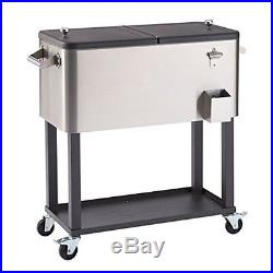 Patio Cooler Cart Rolling Stainless Steel With Shelf 80 Quart Beer Party Garden