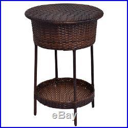 Patio Cooler Ice Bucket Brown Outdoor Wicker Storage Poolside Beverage Cart Deck