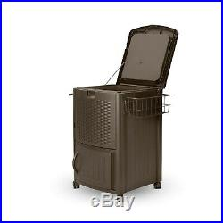 Patio Cooler Outdoor Beverage Cart Portable Rolling With Cabinet Wicker 77 Quart