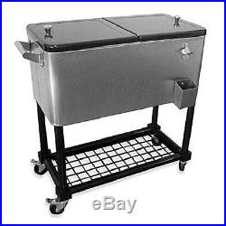 Patio Cooler Outdoor Ice Bar Deck Party Pool Stainless Steel Chest Cool Cocktail