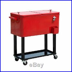 Patio Cooler Party Cooler Cart Portable Rolling 80 Quart Steel Red