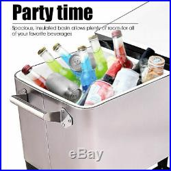 Patio Cooler Rolling Outdoor Stainless Steel Ice Beverage Chest Pool 80 Quart