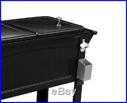 Patio Cooler Rolling Party Ice Chest Bar Deck Pool Outdoor Portable Coolers Blk
