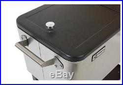 Patio Deck Cooler Outdoor Rolling 80 Quart Stainless Steel Construction Party