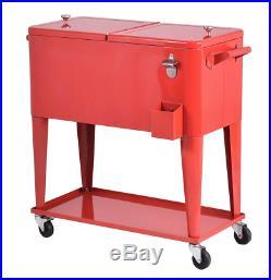 Patio Deck Cooler Rolling Outdoor 80 Quart Solid Steel Construction Durable Home