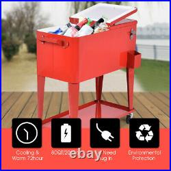 Patio Deck Cooler Rolling Outdoor 80 Quart Solid Steel Construction Party Home