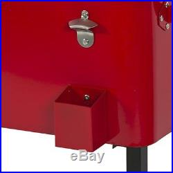 Patio Deck Cooler Rolling Outdoor ShopperChoice Home Party RED 65 Quart