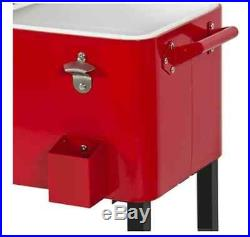 Patio Deck Rolling 65 Quart Cooler Ice Beverage Outdoor Cocktail Party NEW