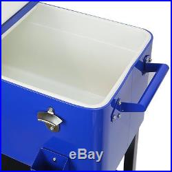 Patio Deck ice Cooler Rolling Outdoor 65 Quart Solid Steel Home Party