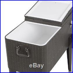 Patio Deck ice Cooler Rolling Outdoor 80 Quart summer Beverage cart Party Rattan