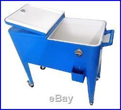 Patio Ice Chest Cooler Cart Blue 60 Quart