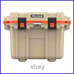 Pelican 30QT Elite Cooler Extreme Ice Retention Bottle Opener Tan and Orange