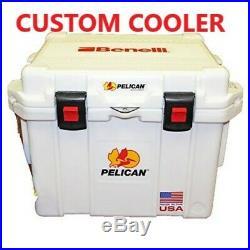 Pelican Cooler Elite 35qt Custom WHITE with Benelli Logo