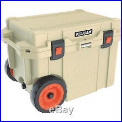 Pelican(TM) 45QW-2-TAN 45-Quart Elite Cooler with Built-in Wheels (Tan)